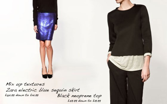 Zara sequin skirt and Neoprene top